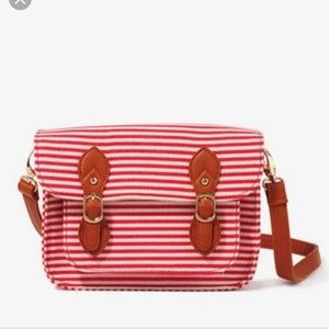 Striped buckled crossbody purse forever 21 red